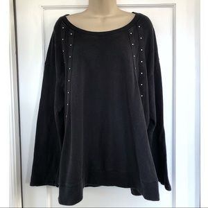 Sejour Black Sweatshirt with Stud Detailing